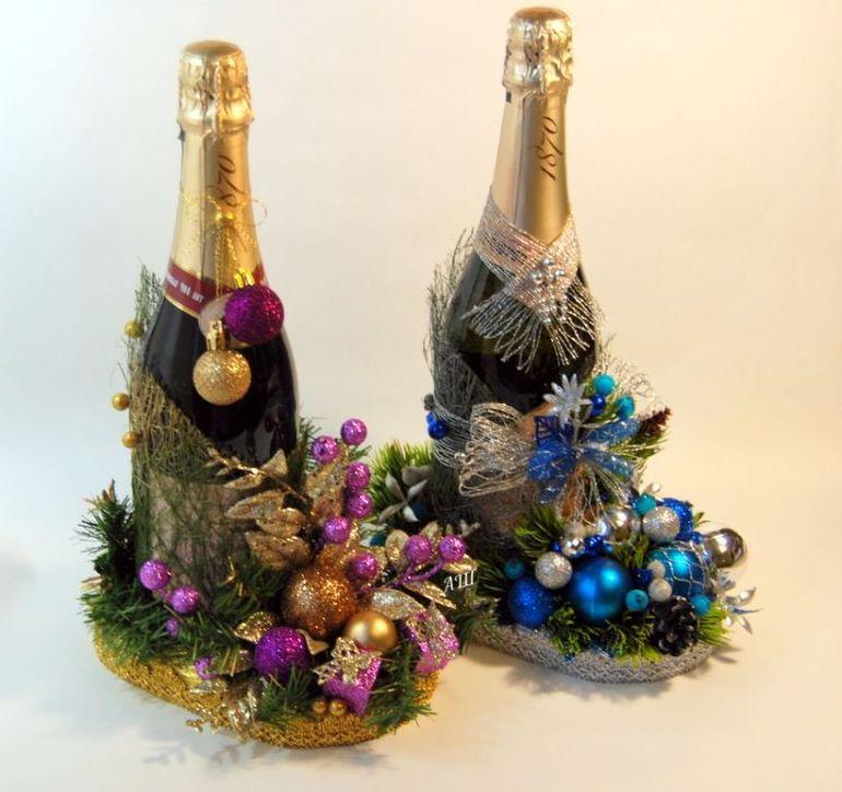 Новогодний букет из шампанского на санях