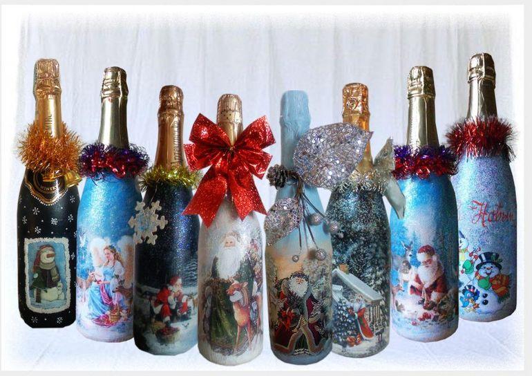Новогодний букет из шампанского в технике декупаж