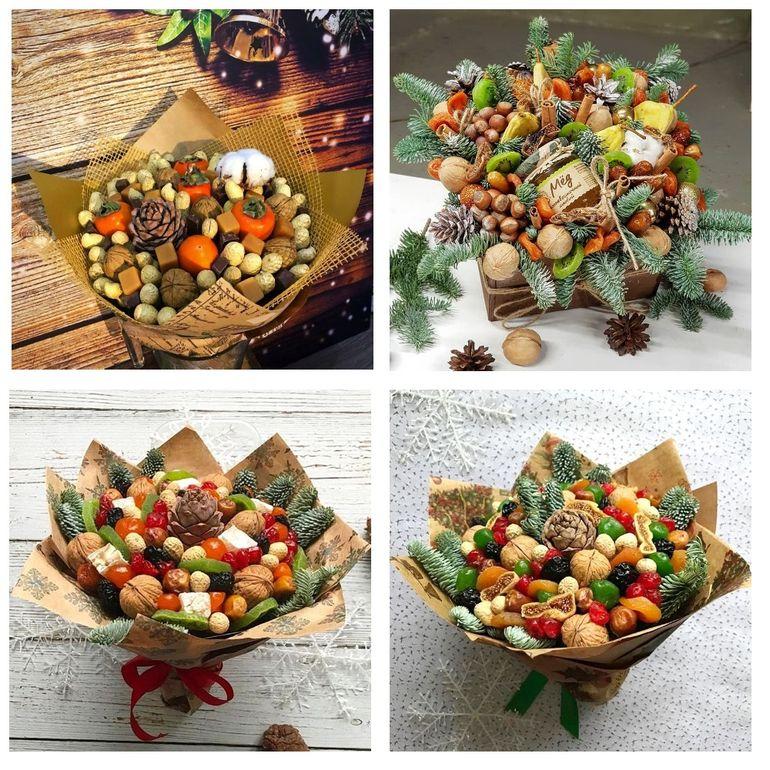 Мастер-класс по сборке новогоднего съедобного букета из сухофруктов и орехов
