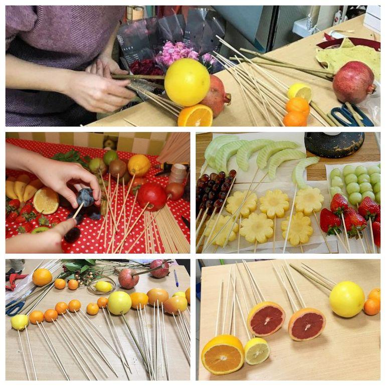 Мастер-класс по сборке новогоднего съедобного букета из фруктов