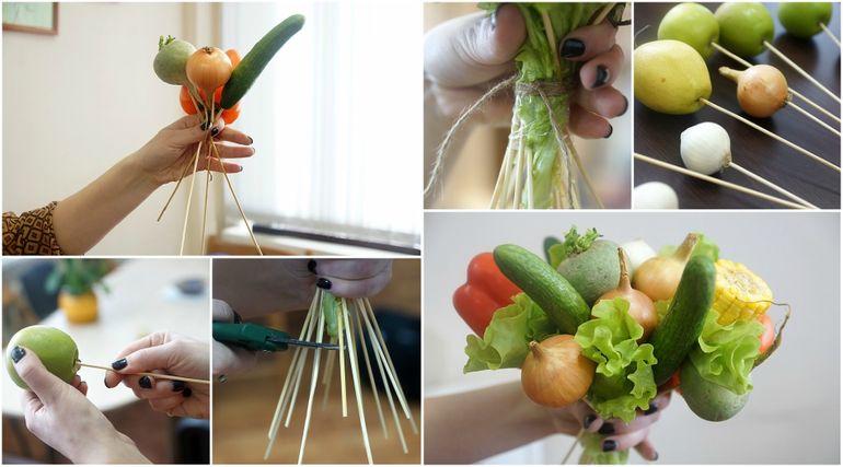 Мастер-класс по сборке новогоднего съедобного букета из овощей