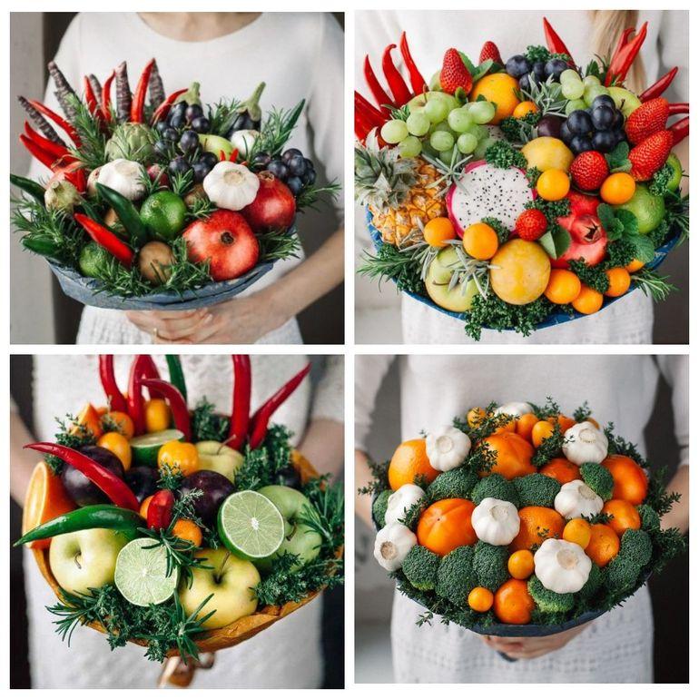 Новогодние съедобные букеты из фруктов и овощей
