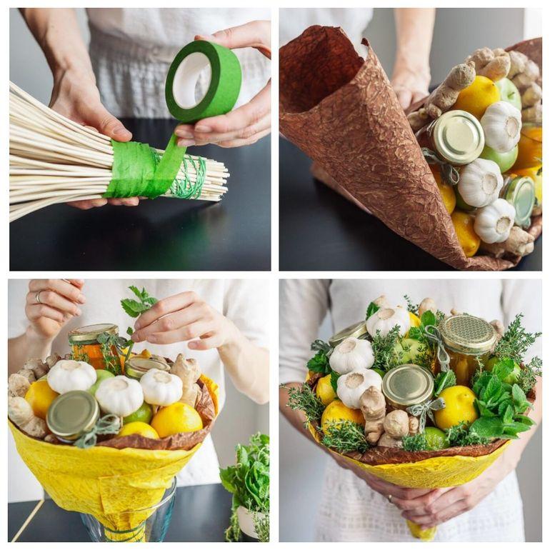 Мастер-класс по сборке новогоднего съедобного букета из фруктов и овощей
