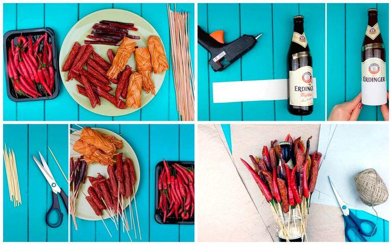 Мастер-класс по сборке новогоднего съедобного букета из колбасы