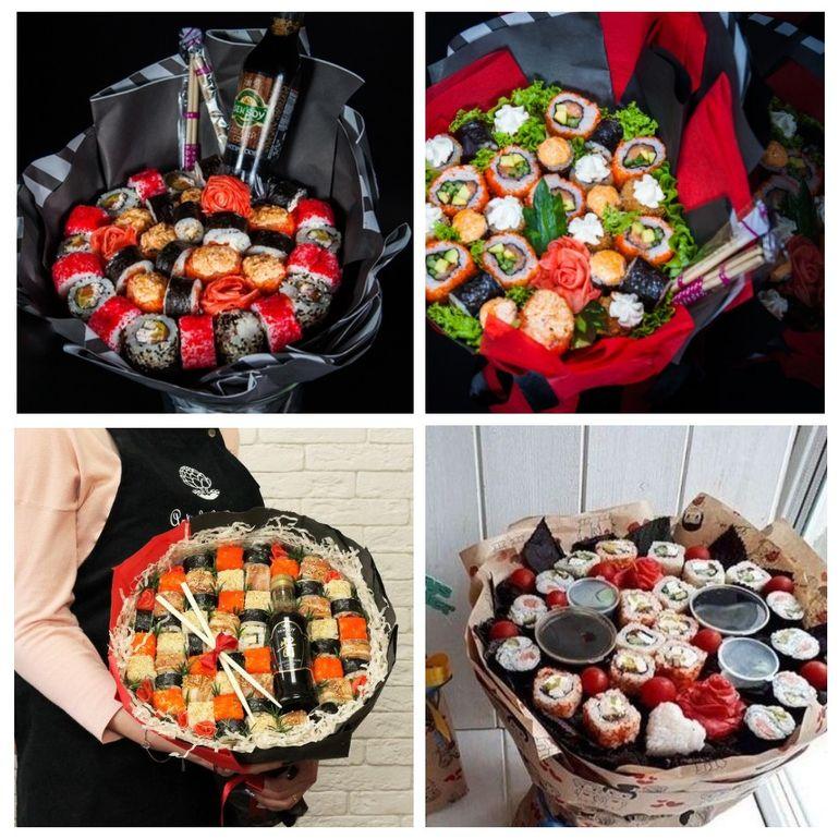 Новогодние съедобные букеты из суши