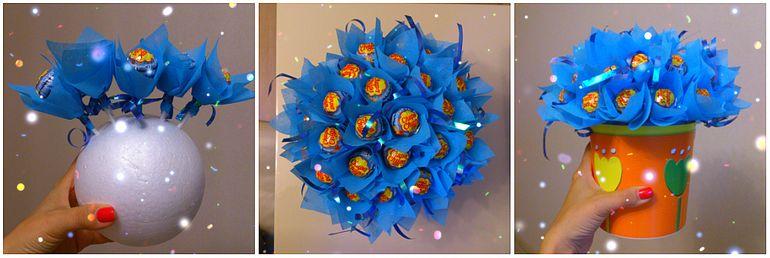 Мастер-класс по сборке новогоднего съедобного букета из Чупа-чупс
