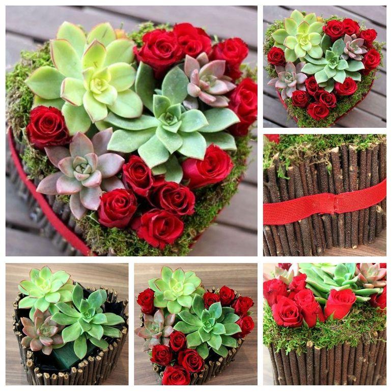 Мастер-класс по сборке цветочного сердца на 14 февраля