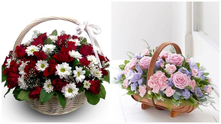 Букет роз на день Валентина в корзине