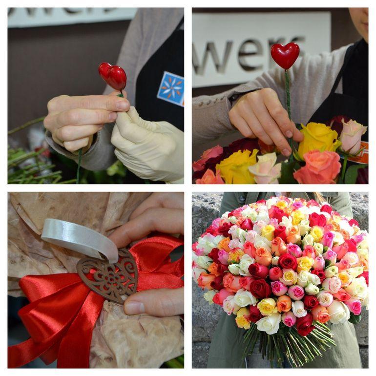 Мастер-класс по сборке классического букета из роз на день Валентина