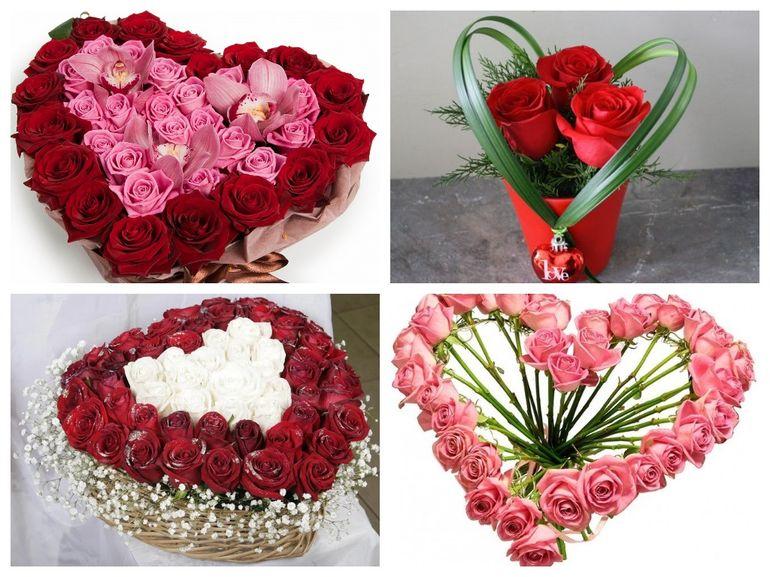 Розы на день Валентина в форме сердца