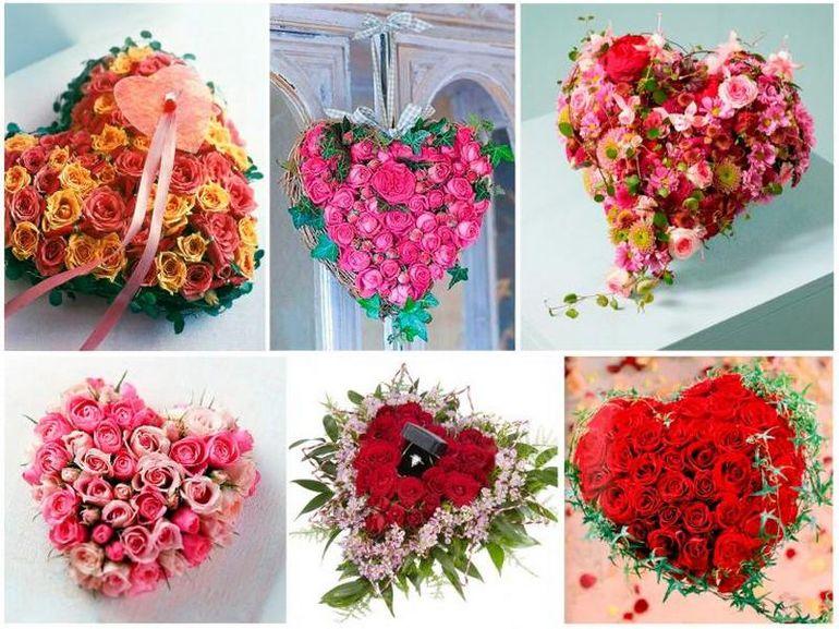 Цветы на День Валентина в форме сердца
