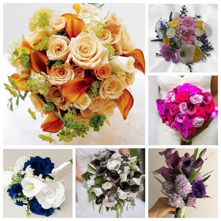 Сочетание роз и калл в букете невесты