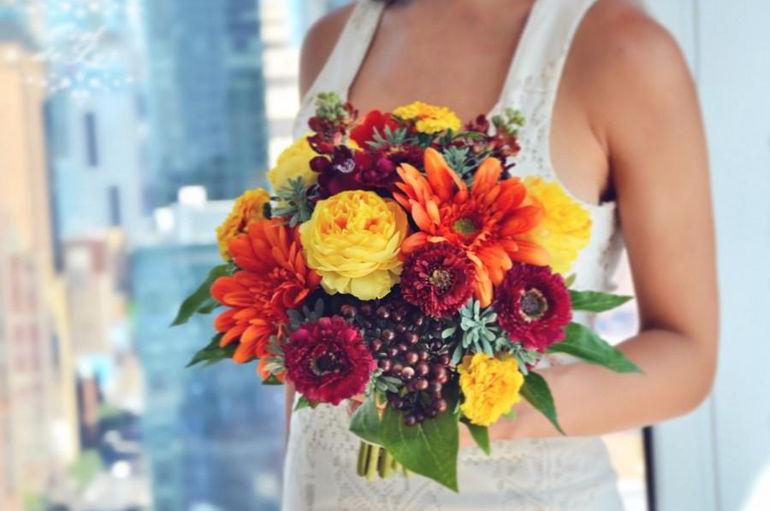 Оранжевый букет невесты своими руками
