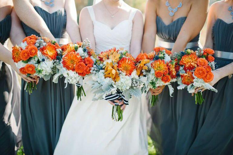 Оранжевый букет невесты  - выбор цветов